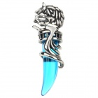 DIY Wolf Tooth 316L Stainless Steel + Agate Necklace Pendant - Silvery White + Blue