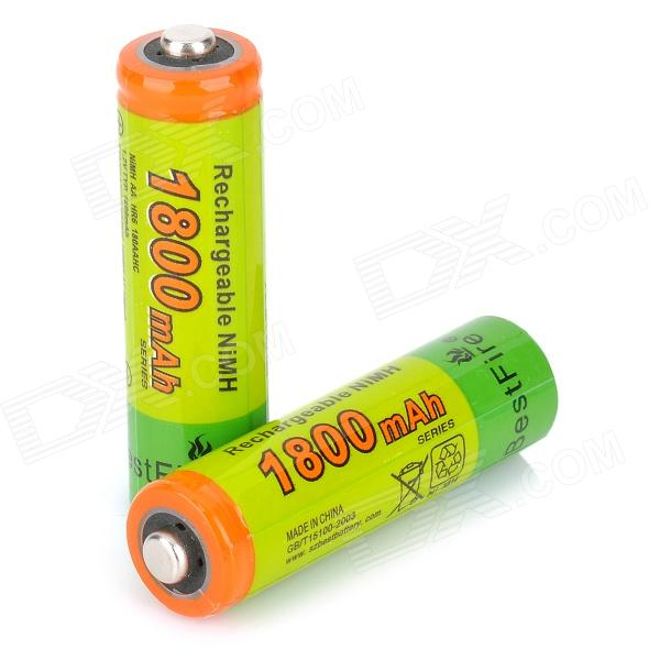 Bestfire 1.2V 1650mAh Rechargeable Ni-MH AA Battery - Green + Multi-colored (2PCS) аккумуляторы hr06 aa duracell ni mh 1300 mah 2шт