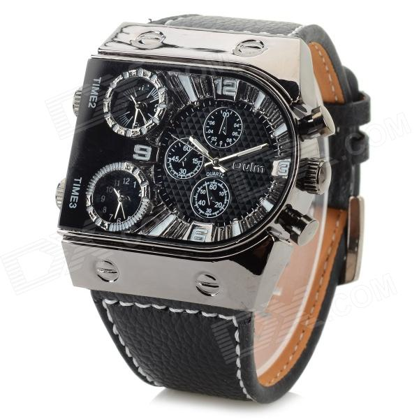 Oulm 9315 Creative Men's 3-Zone Time Display Quartz Analog Wrist Watch - Black (3 x 626) oulm three time zones men quartz watches casual mesh steel leather band multiple time zone watch unique sports men s wristwatch
