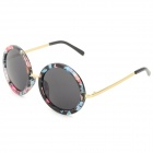 Oulaiou 708 Women's Stylish Retro Round PC Lens UV400 Protection Sunglasses - Black + Blue