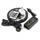 Waterproof 72W 3200LM 300-5050 RGB LED Strip Light w/ 24-key Controller + EU Plug Power Adapter
