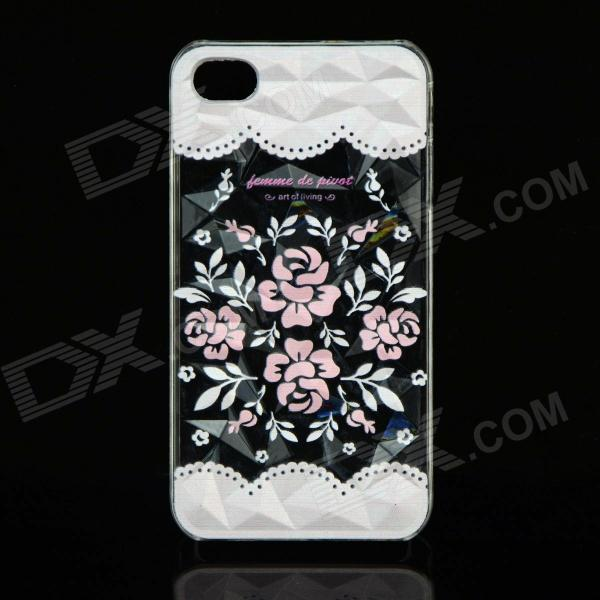 Stylish Rose Style Protective Plastic Back Case for IPHONE 4 / 4S - Multicolor stylish bubble pattern protective silicone abs back case front frame case for iphone 4 4s