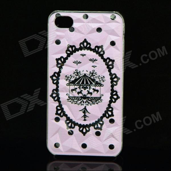 Carousel Merry-go-round Style Protective Plastic Back Case for IPHONE 4 / 4S - Pink merry go round