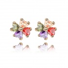 Angibabe Gold Plating Four-leaf Clover Zircon Ear Studs - Multicolored