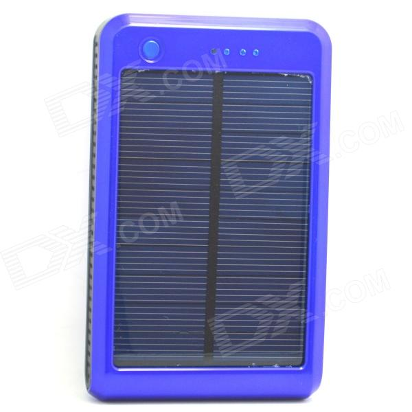 Portable 10000mAh Li-ion Battery Dual-USB Solar Powered Power Bank w/ LED Indicator - Blue + Black portable dual usb 5v 10000mah li ion polymer battery solar power bank w led black grey