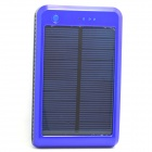 Portable 10000mAh Li-ion Battery Dual-USB Solar Powered Power Bank w/ LED Indicator - Blue + Black
