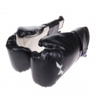 Professional Fighting / Boxing PU Leather Gloves - Black + White (Pair)