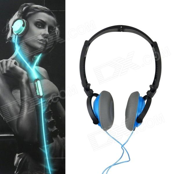 Power4 HP002 Hi-Fi Stereo Headband Headphone w/ Mic for Computer / Mobilephones / MP3 - Blue + Black trendwoo® twins bluetooth wireless speaker support 2 0 left and right stereo sound surround with built in microphone hands free music player