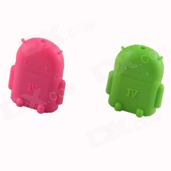 HF-Android Micro USB Male to USB 2.0 Female OTG Adapters - Green + Deep Pink (2 PCS)