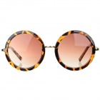 Oulaiou 708 Women's Retro UV400 Resin Lens Leopard Print Round Sunglasses - Yellow + Leopard + Tawny