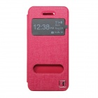 Flower Show Protective PU-Leder Fall w / Display-Fenster für IPHONE 5 / 5S - Deep Pink