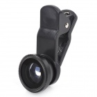 LIEQI LQ-008 4-in-1 Clip-On CPL + Fish eye + Wide Angle + Macro Lens Set for IPHONE / IPAD - Black