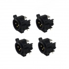 SPF-07MP 3-Pin XLR Male Connectors - Black (4 PCS)