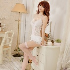 Women's Fashionable Sexy Lace Sleep Dress w/ T-Back -  White