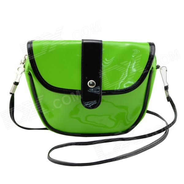 Fashionable Waterproof Leather Messenger Bag for Women - Green + Black