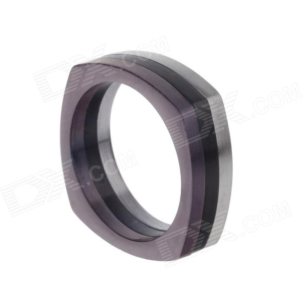 Simple Fashion Men's 317L Stainless Steel Finger Ring - Purple + Silver + Black (US Size 13)
