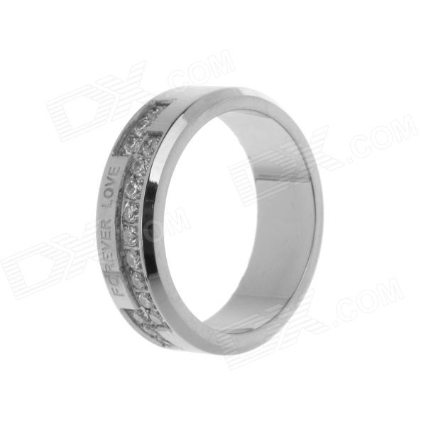 Men's Forever Love Pattern 317L Stainless Steel Ring w/ Shiny Rhinestone - Silver (U.S Size 9) stainless steel hand palm odor remover lasts forever