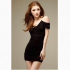 Muodikas Sexy Slim Paketti Hip Cotton Dress - Musta