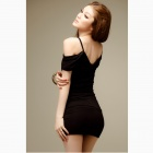 Fashionable Sexy Slim Package Hip Cotton Dress - Black