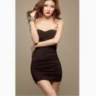 Slim Chest Wrapped Package Hip Strapless Dress- Black
