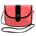 Fashionable Waterproof Leather Messenger Bag for Women - Watermelon Red + Black