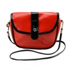 Fashionable Waterproof Leather Messenger Bag for Women - Red + Black
