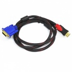 High Definition 1080P HDMI Male to VGA Female Adapter Cable - Black + Red (150cm)