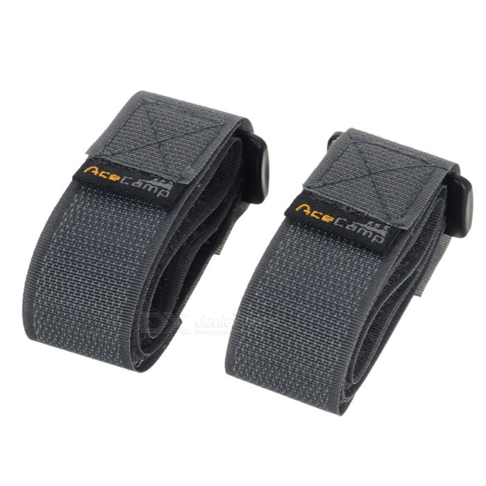 Acecamp 9113 2.5 x 60cm Velcro Buckle Compression Belt - Black (2PCS)