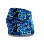 Men's Polyester + Spandex Boxer Swimming Trunks - Blue + Yellow (M)