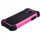 2-in-1 Protective Plastic + TPU Back Case for Samsung Galaxy S4 Mini i9190 - Deep Pink + Black