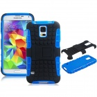 2-in-1 Protective Plastic Back Case w/ Stand for Samsung Galaxy S5 - Blue + Black