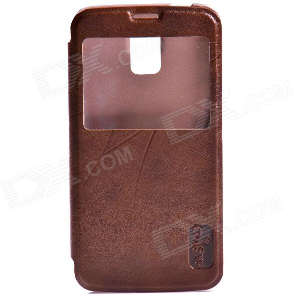 Protective Flip Open PU Leather Case w/ Display Window for Samsung Galaxy S5 - Brown protective flip open pu leather pc case w display window for samsung galaxy s5 deep pink