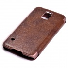 Protective Flip Open PU Leather Case w/ Display Window for Samsung Galaxy S5 - Brown