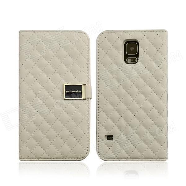 Grid Pattern Flip Open PU Leather Case w/ Card Slot / Stand for Samsung Galaxy S5 - White miniisw c 3 pu leather flip open case w display window for samsung galaxy s5 off white black