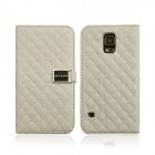 Grid Pattern Flip Open PU Leather Case w/ Card Slot / Stand for Samsung Galaxy S5 - White