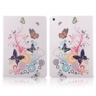 Graffiti Series Flower & Butterfly Style Protective PU Leather + Plastic Case for IPAD AIR - White