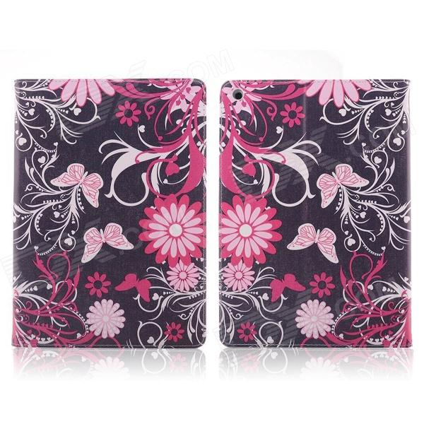 Graffiti Series Flower & Butterfly Style Protective PU Leather + Plastic Case for IPAD AIR - Black