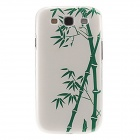 Kinston Bamboo Pattern Plastic Protective Back Case for Samsung Galaxy S3 i9300 - White + Green