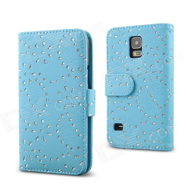 Stylish Rhinestone Inlaid Flip Open PU Case w/ Stand / Card Slots for Samsung S5 - Blue stylish flip open pu tpu case w card slots for nokia 625 blue