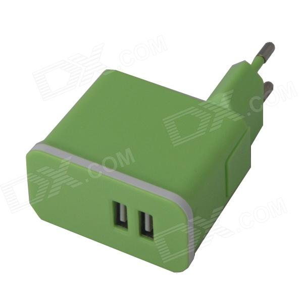 Universal Detachable AC Power Charging  Adapter Charger w/ Dual USB Output - Green (EU Plug) цена и фото