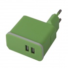 Universal Detachable AC Power Charging  Adapter Charger w/ Dual USB Output - Green (EU Plug)