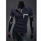 1414-T21 Men's Slim Fashion Lapel Short-sleeved POLO Shirt - Deep Blue (XL)