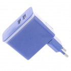 Universal Detachable AC Power Charging Adapter Charger w/ Dual USB Output - Purple (EU Plug)
