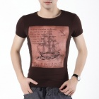 FENL E860-1 Fashion Men's Cotton Sail Boat Print Short Sleeved Round Neck T Shirt - Coffee (Size S)