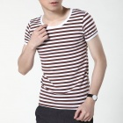 FENL Men's Stylish Slim Round Neck Short Sleeves T-Shirt - Coffee + White (Size S)