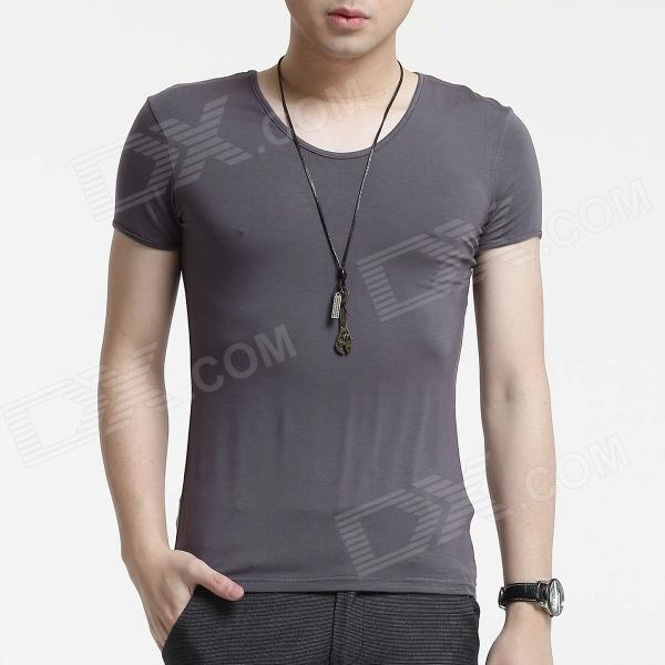 FENL A520 Men's Slim Round Neck Short Sleeves Modal T-Shirt Tee - Dark Grey (Size S)