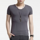 FENL A520 Men's Slim Round Neck Short Sleeves Modal T-Shirt Tee - Dark Grey (Size M)