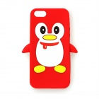 Penguin Style Protective Silicone Back Case for IPHONE 5 / 5S - Red