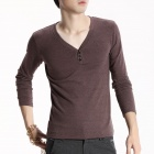 FENL Men's Fashionable Slim V-Neck Long Sleeve Cotton T-Shirt Tee - Coffee (Size L)
