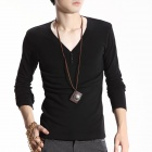 FENL Men's Fashionable Slim V-Neck Long Sleeve T-Shirt Tee - Black (Size XXL)